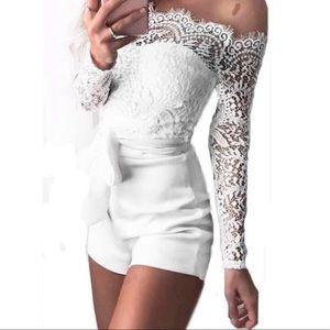 Pants - • White Lace Romper •